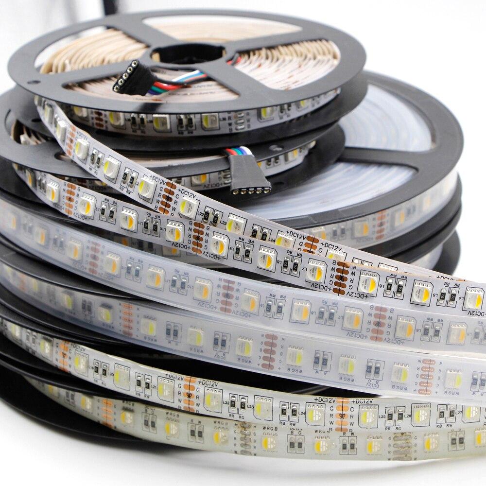 Светодиодная лента 1 м, 5 м, 12 мм, PCB, светильник 5050, 12 В, 24 В, 4 в 1, чип RGB + WW + CW, 60 светодиодов/м, 96 светодиодов/м, RGBW, RGBWW, светодиодный светильник, во...