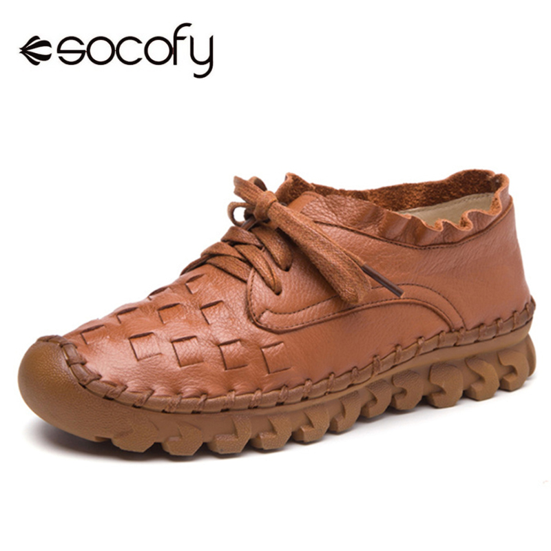 Socofy Flat Women Shoes Vintage Genuine Leather Shoes Woman Summer Casual Lace Up Flats Hand Sewing Soft Sole Fishermen Flats 2018 genuine leather flat shoes woman hand sewing loafers spring fashion casual shoes women flats lace up women shoes