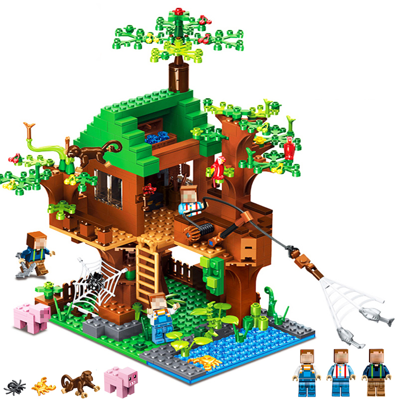 My World Legoing Model Building Blocks DIY Fish Island Minecrafted Brick Action Figure Toys Gifts For Children Boy toy gift 1001pcs military army headquarters model building blocks action figure diy learning blocks educational toys for children legoing