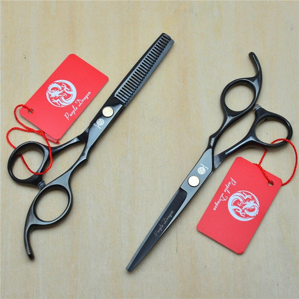 5.5'' 16cm Purple Dragon 440C Black Colour Professional Human Hair Scissors Hairdressing Cutting Shears Thinning Scissors Z1005