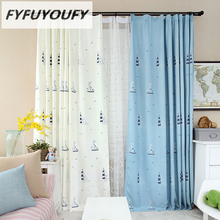 1 piece 100% Polyester/Cotton Modern Printed Cartoon ship  High-grade curtains Fabric for Children Room  Blackout Curtain drapes