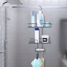 (Ship From US) Lifewit Shower Caddy Bathroom Hanging Shower Hose Rack,  Shower Door Caddy Shelves For Shampoo, Conditioner, Soap, Silver