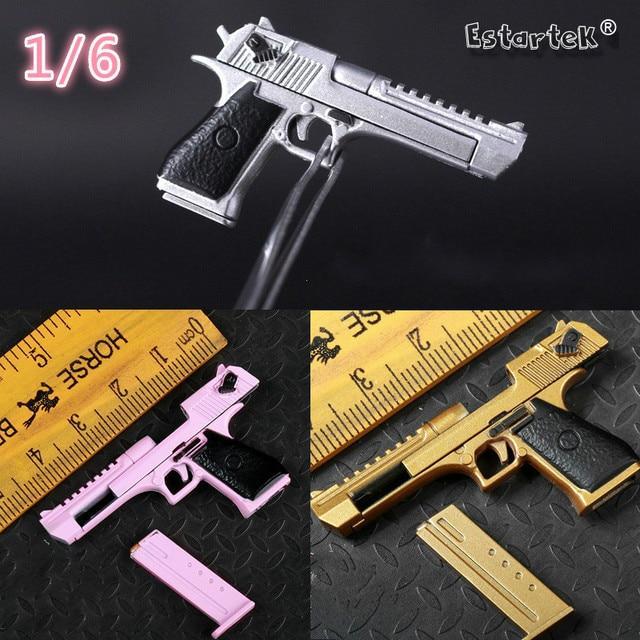Estartek 1 6 Exquisite Desert Eagle Gun Model Gold Silver Pink Color For 12inch Action Figure DIY