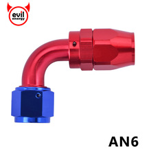 evil energy Aluminium Fitting AN6 AN 6 90 Degree Swivel AN Fitting Adapter Hose End Oil Fuel Reusable Fitting