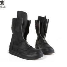 FR. LANCELOT/; мужские ботинки из натуральной кожи с круглым носком; модные мужские ботинки в британском стиле с высоким берцем; мужские короткие ботинки на молнии