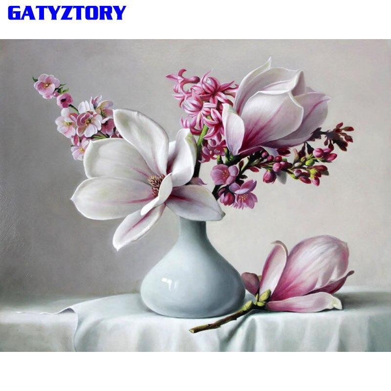 Gatyztory Magnolia pintura de Diy por números casa pared decoración arte Digital caligrafía foto de pintura por números para pared arte