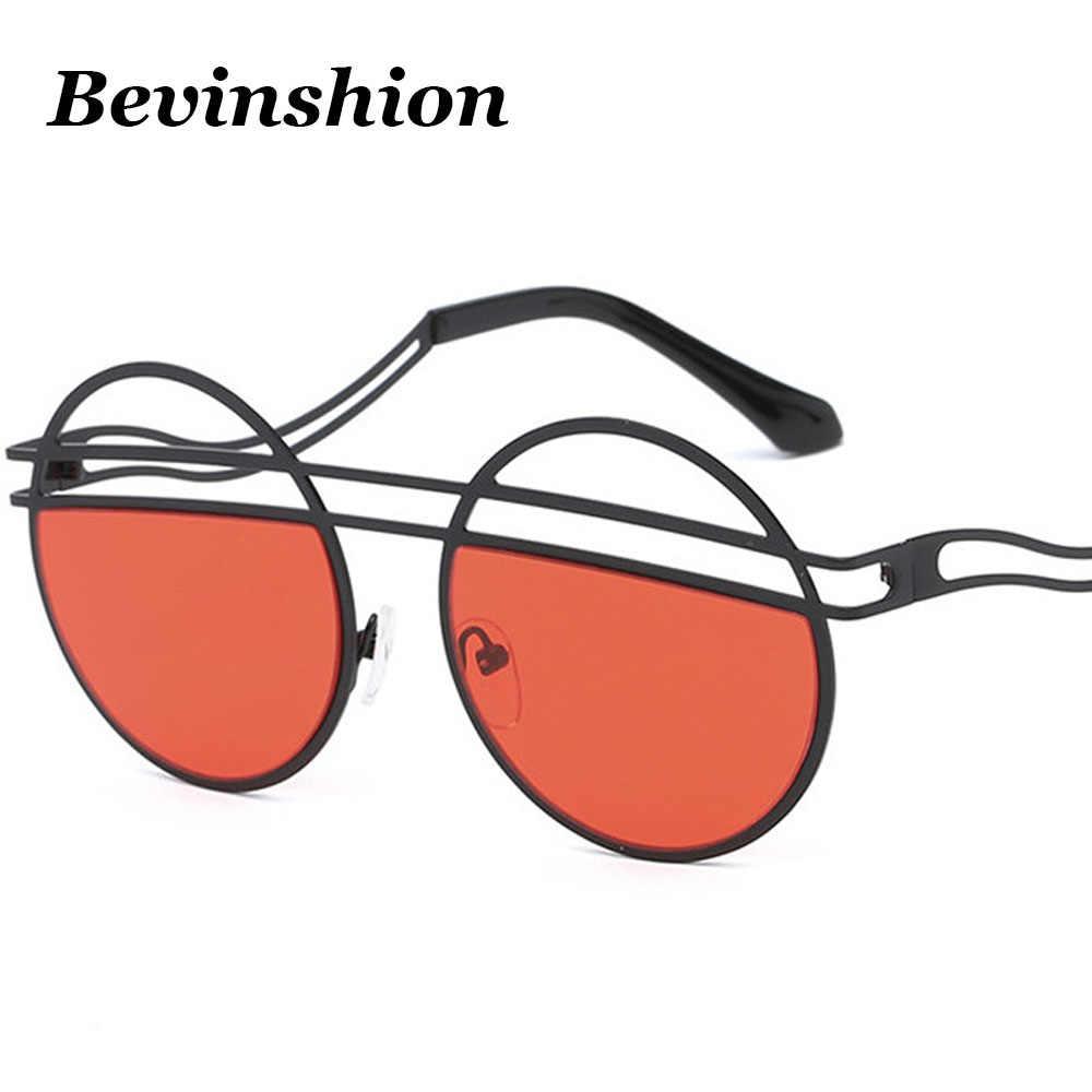 Cool nuevos Hollow Metal ronda gafas de sol mujeres doble vigas doblar las  piernas marca diseñador 1fd54a9c39a3