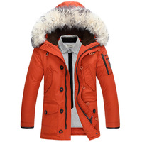 Faux Fur Collar Winter Men Jacket Feather Hooded Thicken Duck Down Jacket Men Snow Jackets Warm Long Parka Plus Size Chaqueta