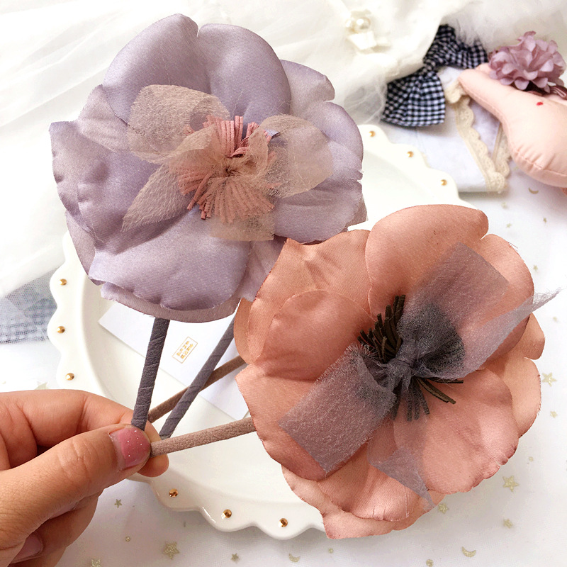 Korea Hand Made Big Flower Hairband Crown Pink Color High Quality Hair Accessories For Girls Hair Bows Headbands