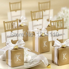 Wedding Decoration Favors Gold Chair Favor Box with Heart Charm Customized LOGO Wedding Boxes+150pcs/Lot+FREE SHIPPING