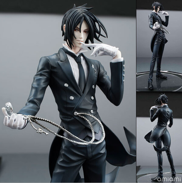 New 24cm Black Butler Sebastian Michaelis Action Figures PVC brinquedos Collection Figures toys christmas gift with Retail box 2017 harry potter hogwarts magical wand 36cm action figures pvc brinquedos collection figures toys with retail box