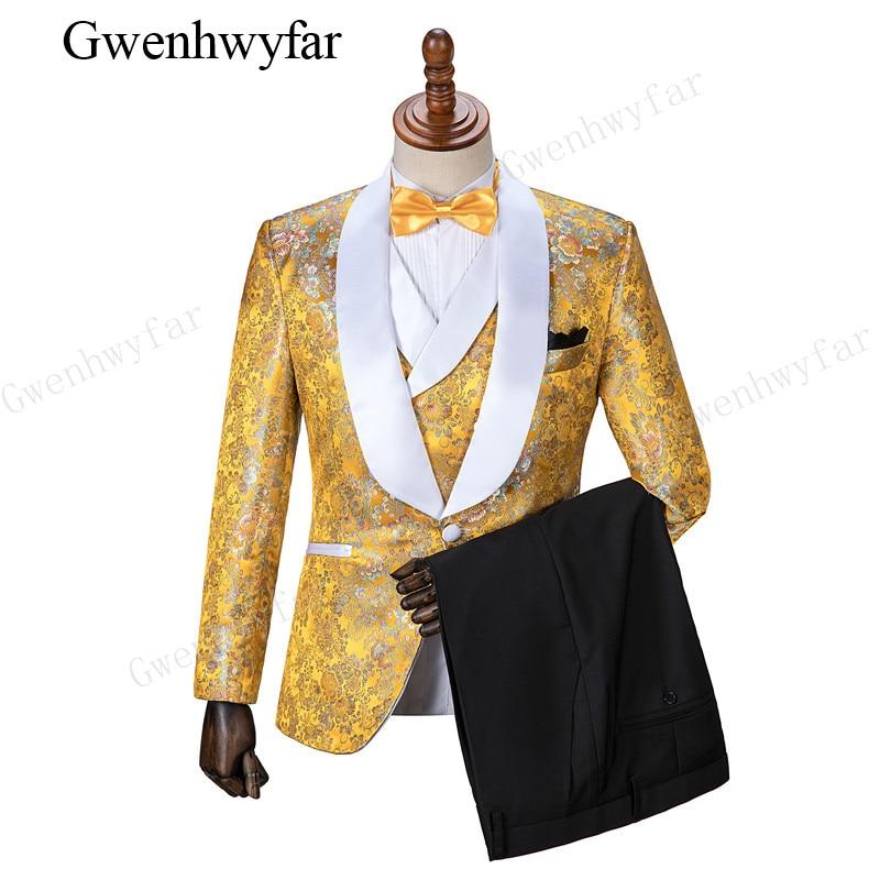 Gwenhwyfar عالية الجودة الذهب الأصفر الزفاف العريس البدلات الرسمية شال طية صدر السترة رفقاء العريس رجل عشاء حفلة موسيقية الدعاوى (سترة + بنطلون + سترة)-في بدلة من ملابس الرجال على  مجموعة 1