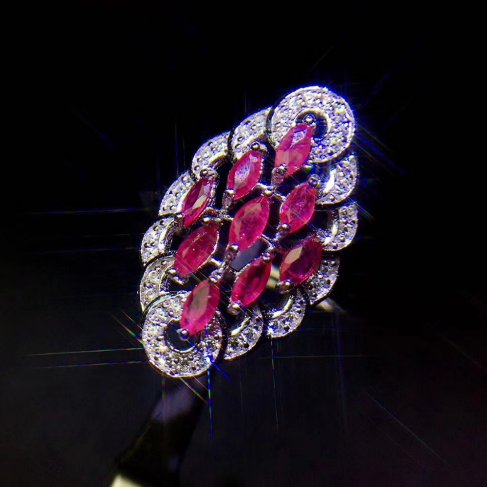 цена на Natural red ruby gem Ring Natural gemstone ring S925 silver trendy Elegant Luxury arrangement rhombus women party gift Jewelry