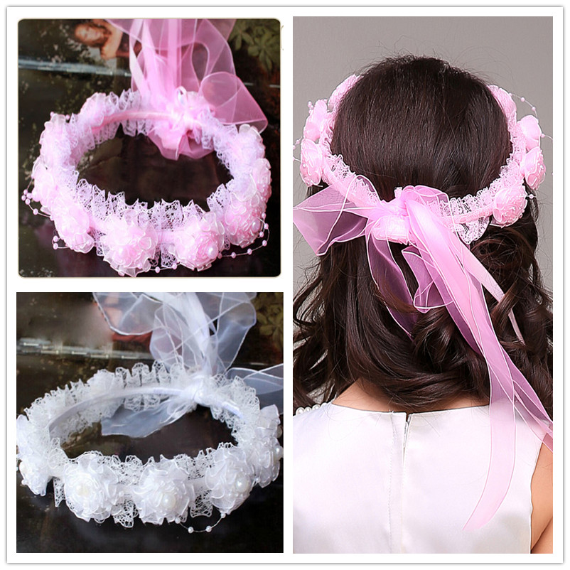 Handmade Flower Wreath Crown Garland Hairband for Wedding Party Festival Girl Wreath Headband Kids Girls Hair Accessories 10pcs lot high quality hair band with grosgrain ribbon flower for girls handmade flower hairbow hairband kids hair accessories