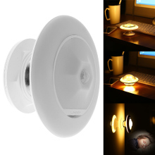 Novelty Greative Wall Lamp 360 Degree Rotating Body Sensor Night Light Support 3pcs AAA Batteries for Safe Lighting