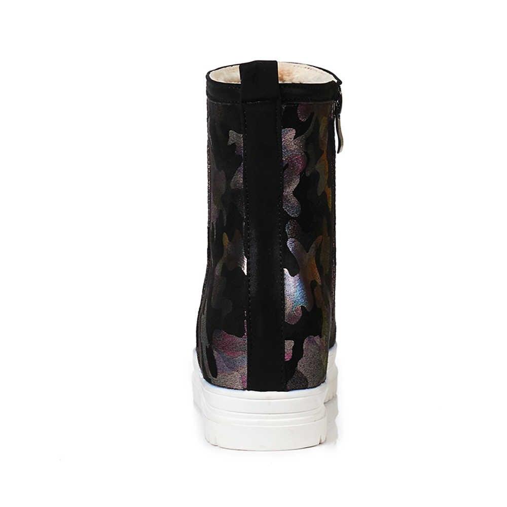 ANNYMOLI Kadın Botları Kış Kar Botları Peluş Platformu Kama Topuk yarım çizmeler Yüksekliği Artan Kısa Ayakkabı Kadın Artı Boyutu 3 43