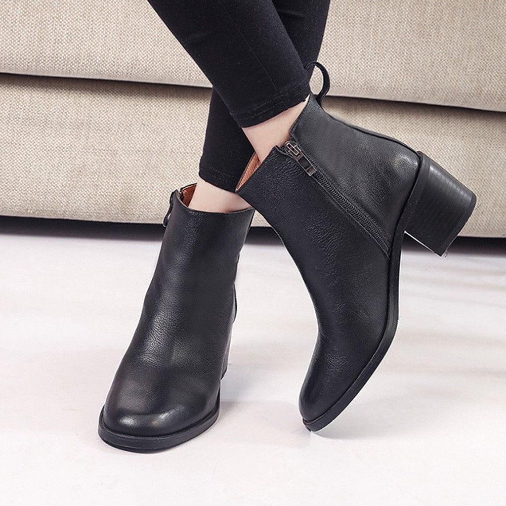 6f6a04a5019 Chemical Hoses Womens Ankle Boots Vintage Chunky Bootie High Heels Thick  Shoes Short Boot Zipper Warm Winter Shoes for Women