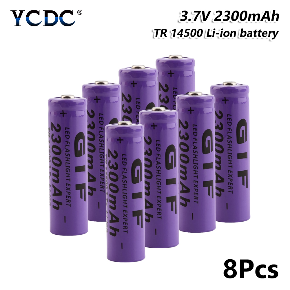 Power Source Objective High Performance Gif 14500 Battery 2300mah 3.7v For Torch Mini Fan Power Rechargeable Batteries Discharge For E-cigarette Good For Energy And The Spleen