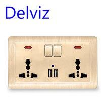 Delviz-enchufe usb universal, tres agujeros de pared de toma de corriente, cargador con puerto USB Dual, 2A, enchufe europeo, UK estándar