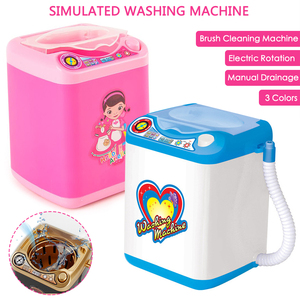 Drop Ship Mini Makeup Brush Washing Machine Simulation Toys Pretend Children Play Electric Powder Puff Cleaner Washer Tool(China)
