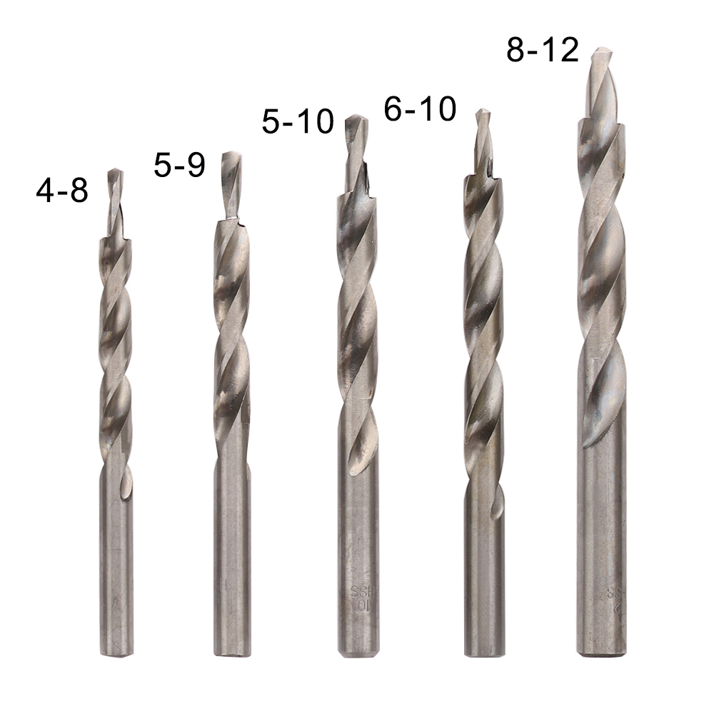 4-8/5-9/5-10/6-10/8-12mm HSS Twist Step Drill Bit Pocket Hole Drill Bits Wooden Drill Woodworking Drilling Step Drill