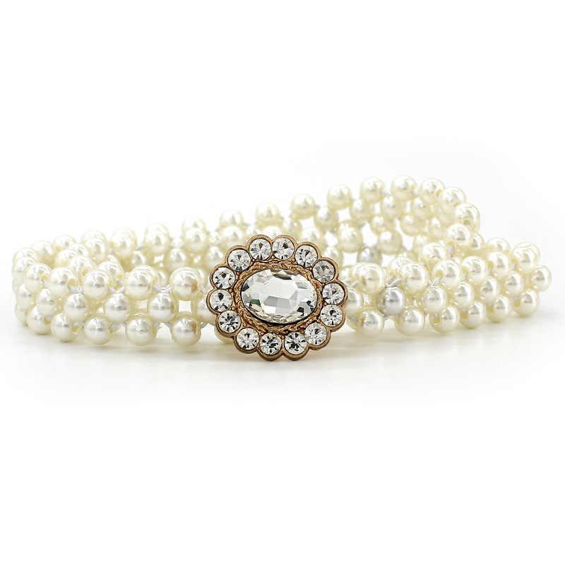 2019 新ファッションエレガントな女性真珠のベルトのウエスト弾性バックル真珠チェーンベルト女性女の子ドレスクリスタルストラップ