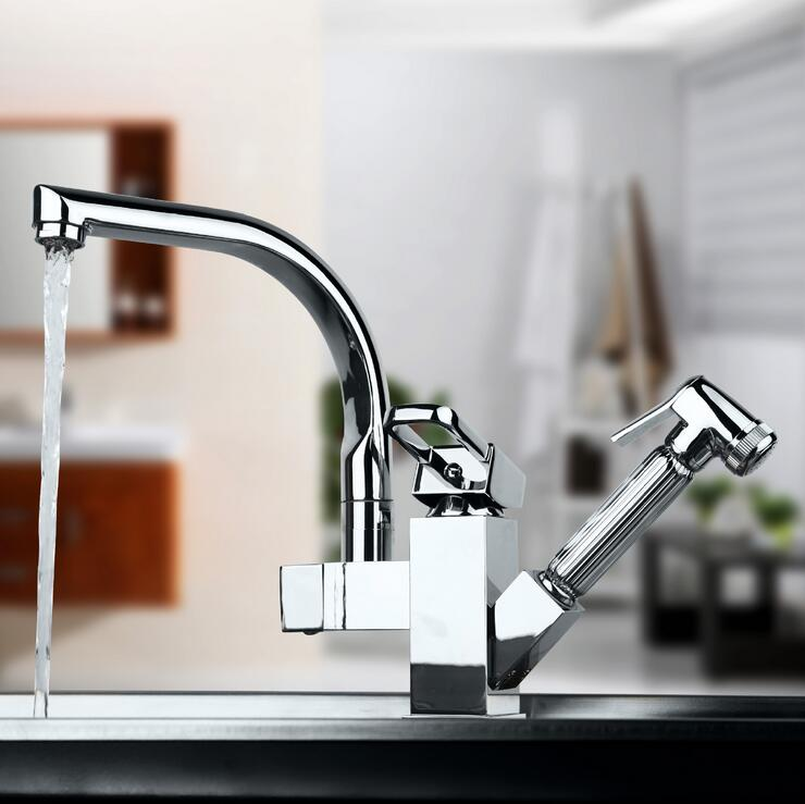 цена на Rotated kitchen sink basin faucet hot and cold, Stretched kitchen faucet pull down, Copper dish basin faucet mixer tap chrome