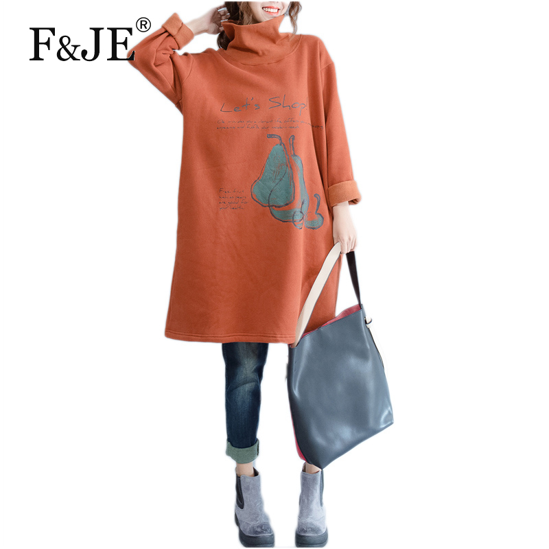 F&JE 2017 Autumn Winter New Fashion Thicken Women Dress High Quality Loose Casual Print Dresses Cotton Turtleneck Dress S310
