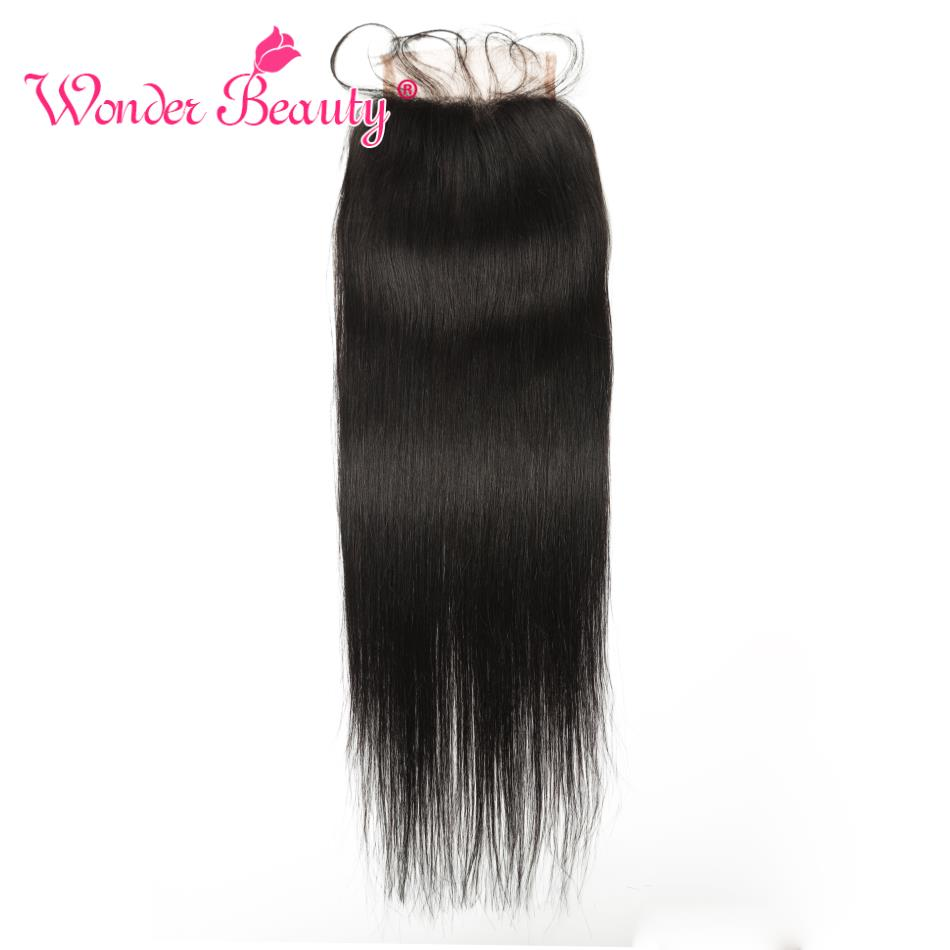 Wonder Beauty Hair Brazilian Straight Remy Lace Closure 4''x4'' Human Hair Lace Closure Black Color 8- 22 Inch Can Be Dyed 1pcs