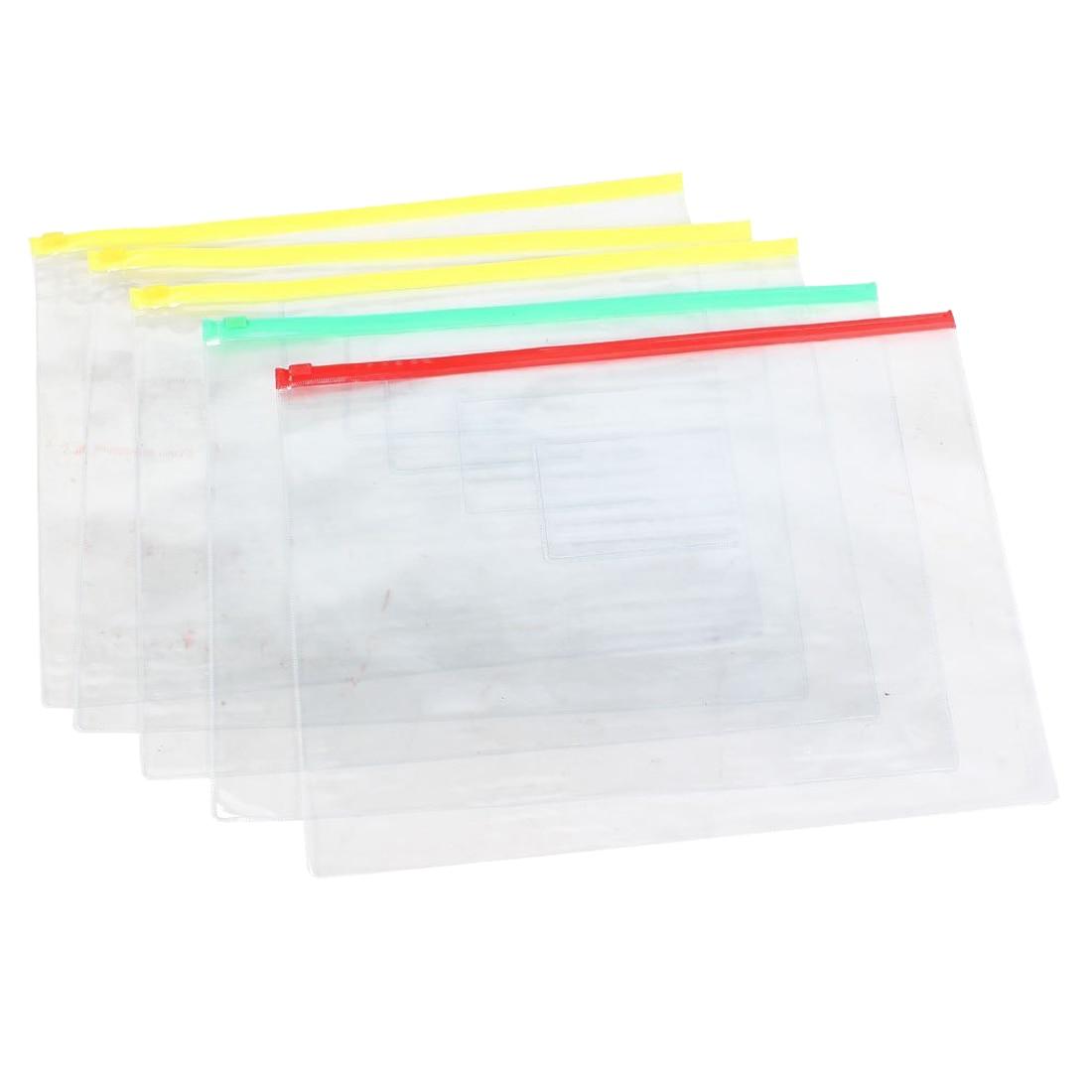 SOSW-5 Pcs Clear Plastic Water Proof Pen A4 File Paper Ziplock Bags Folders