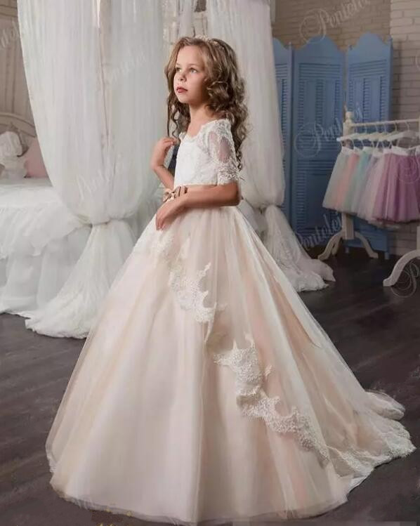 Lace Arabic 2017 Flower Girl Dresses For Wedding Party Chapel Train Little Kids Formal First Communion Dress lace arabic 2017 flower girl dresses for wedding party chapel train little kids formal first communion dress