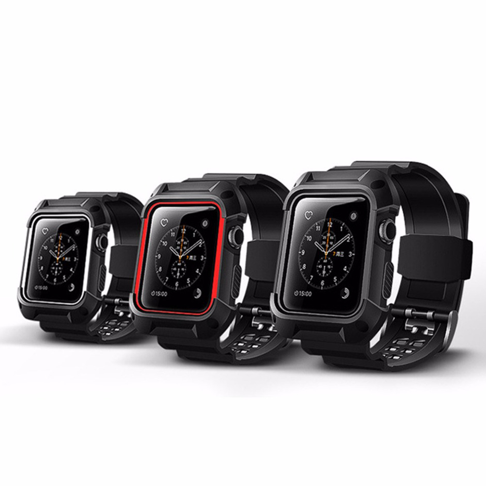 CRESTED protect case+silicone strap for apple watch series 3/2/1 42mm/38mm screen protect+watch band for I watch 42mm 38mm for apple watch s3 series 3