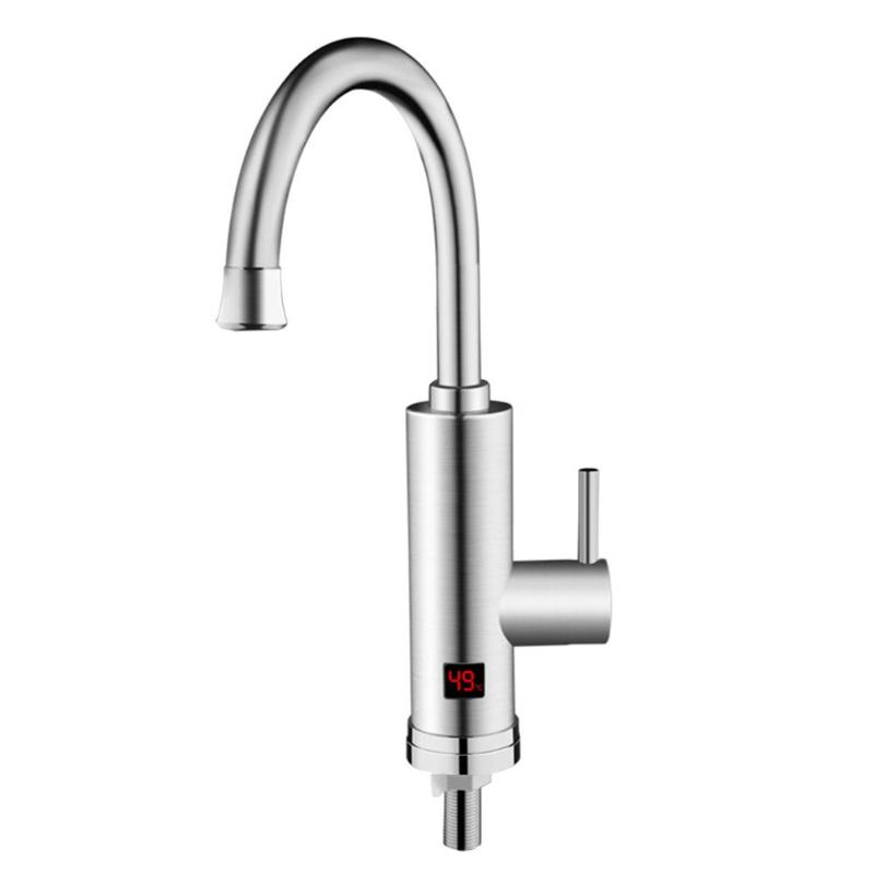 Stainless Steel Electric Hot Faucet Temperature Display Heater Faucet Instantaneous Electric Water Heater Tap AU Plug stainless steel water heater 10 liters shanghai set up