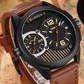 CURREN New Leather Strap Dual Time Zone Men's Quartz Watch Luxury Brand Oversize Dial Men Birthday Gift Watch Relogio Masculino