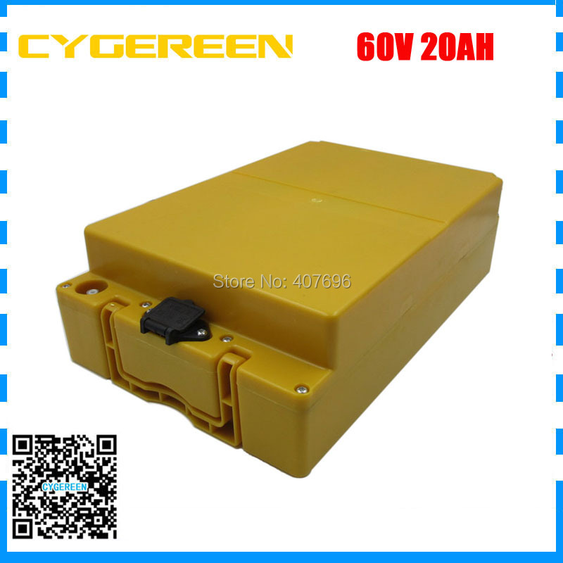 Lithium battery pack 60V 20AH with plastic case Electric bike battery 60V20AH use 3.7V 2500mah Cell 2A Charger free shipping lithium battery 60v 30ah electric bicycle scooter 60v 2000w use for samsung cell e bike lithium battery pack with 2a charger