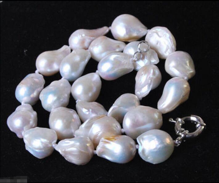 БЕСПЛАТНАЯ ДОСТАВКА >@@> Горячие продажа новый Стиль>>>>> Мода Уникальный 14X18 мм Подлинная Белый Akoya Барочное Ожерелье Перлы 18