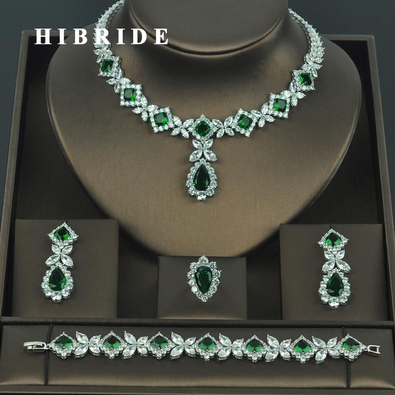 HIBRIDE Brilliant Cubic Zirconia Wedding Jewelry Sets For Women Bridal 4 pcs Earring Necklace Set Promotion