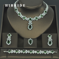 HIBRIDE Brilliant Cubic Zirconia Wedding Jewelry Sets For Women Bridal 4 pcs Earring Necklace Set Promotion Factory Price N 318