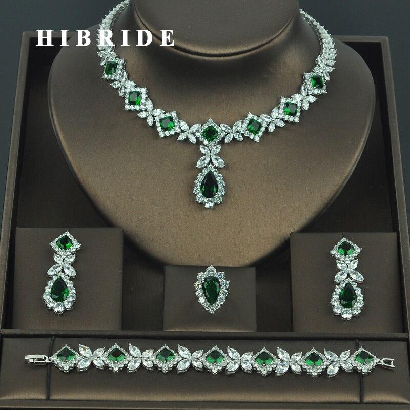 HIBRIDE brillant cubique zircone mariage ensembles de bijoux pour les femmes nuptiales 4 pièces boucle d'oreille collier ensemble Promotion prix usine N-318