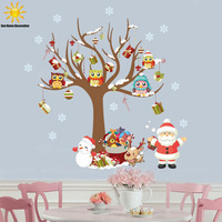 The New Family Of Santa Owl Children S Room Bedroom Wall Stickers Home Decor Christmas Window
