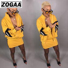 ZOGAA Two Piece Set Tracksuit Women Clothes Casual Autumn Winter Outfits Jacket Tops+Mini Skirts Suits 2 Matching Sets