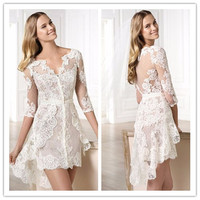 Asymmetrical See Through Back White Knee Length Short Dress With Three Quarter Sleeves Party Dresses Onepiece Plus Size 1216A