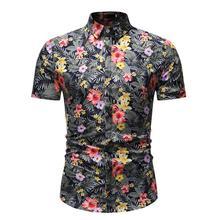 Floral Short sleeve Flower Blouse Men's clothing Social Shirt Male Hawaiian Shirt for Men Fashion New Summer