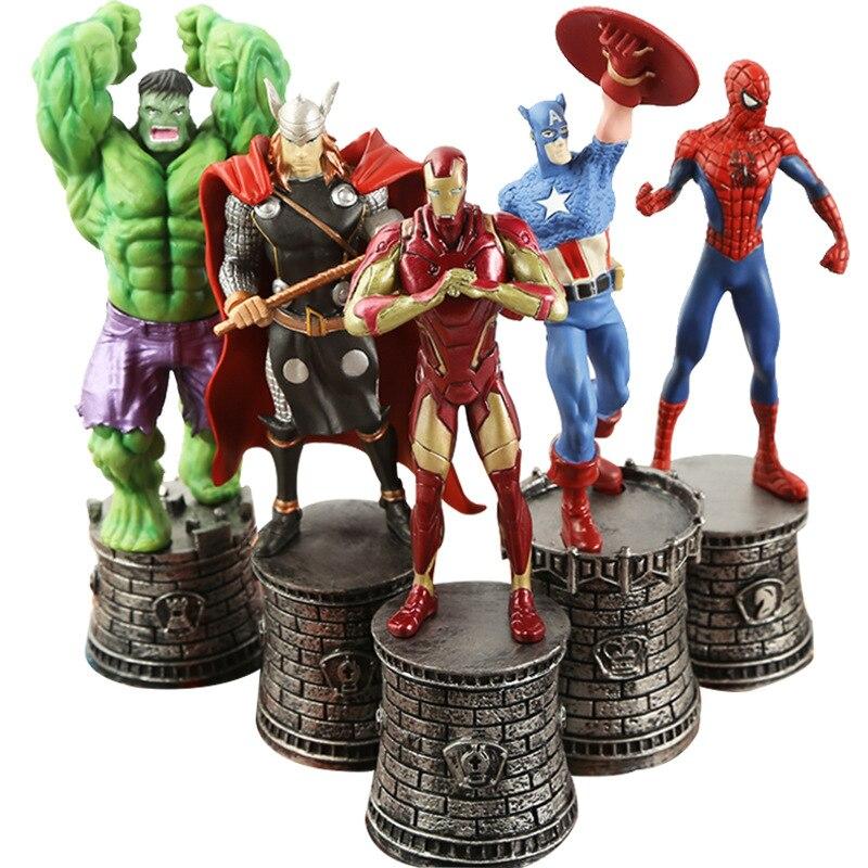 5 pièces/ensemble Disney Marvel Avengers Captain America Hulk Thor Iron Man Spider-Man échecs Figure d'action ornements de voiture poupée modèle jouets