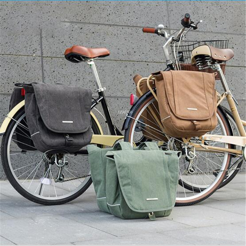 ROSWHEEL 20L Bicycle Bike Bag Retro Canvas Cycling MTB Bike Bag Pannier Rear Rack Seat Trunk Backpack Case Bike Accessories roswheel bicycle bag men women bike rear seat saddle bag crossbody bag for cycling accessories outdoor sport riding backpack