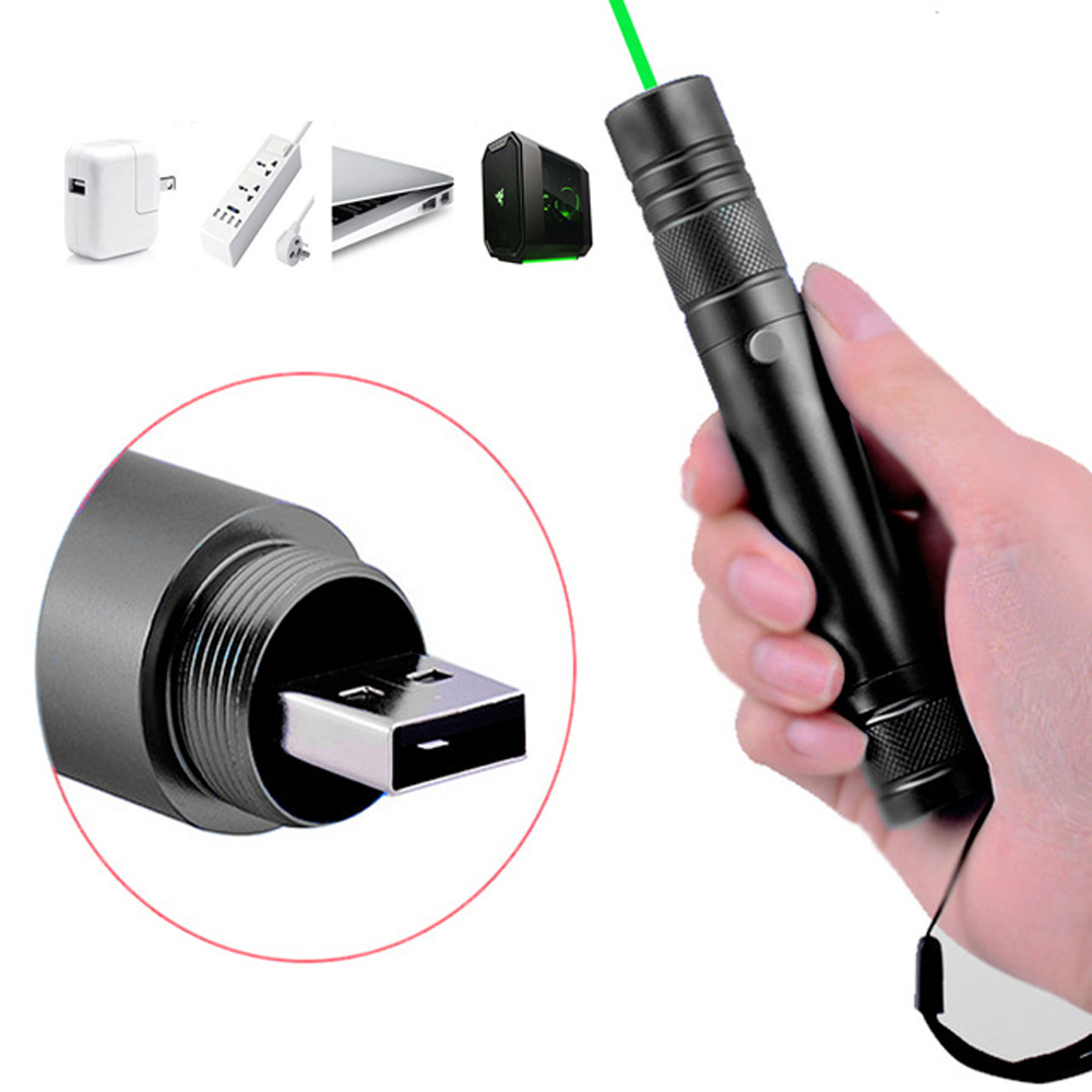 Laser Pointer USB Rechargeable lazer charging High Power Beam Green Portable 5mW Powerful light laser Pen Adjustable Focus