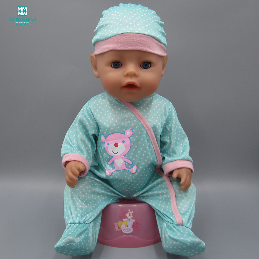 Clothes for dolls fits 43cm Baby Born zapf doll blue cartoon piece crawling clothes