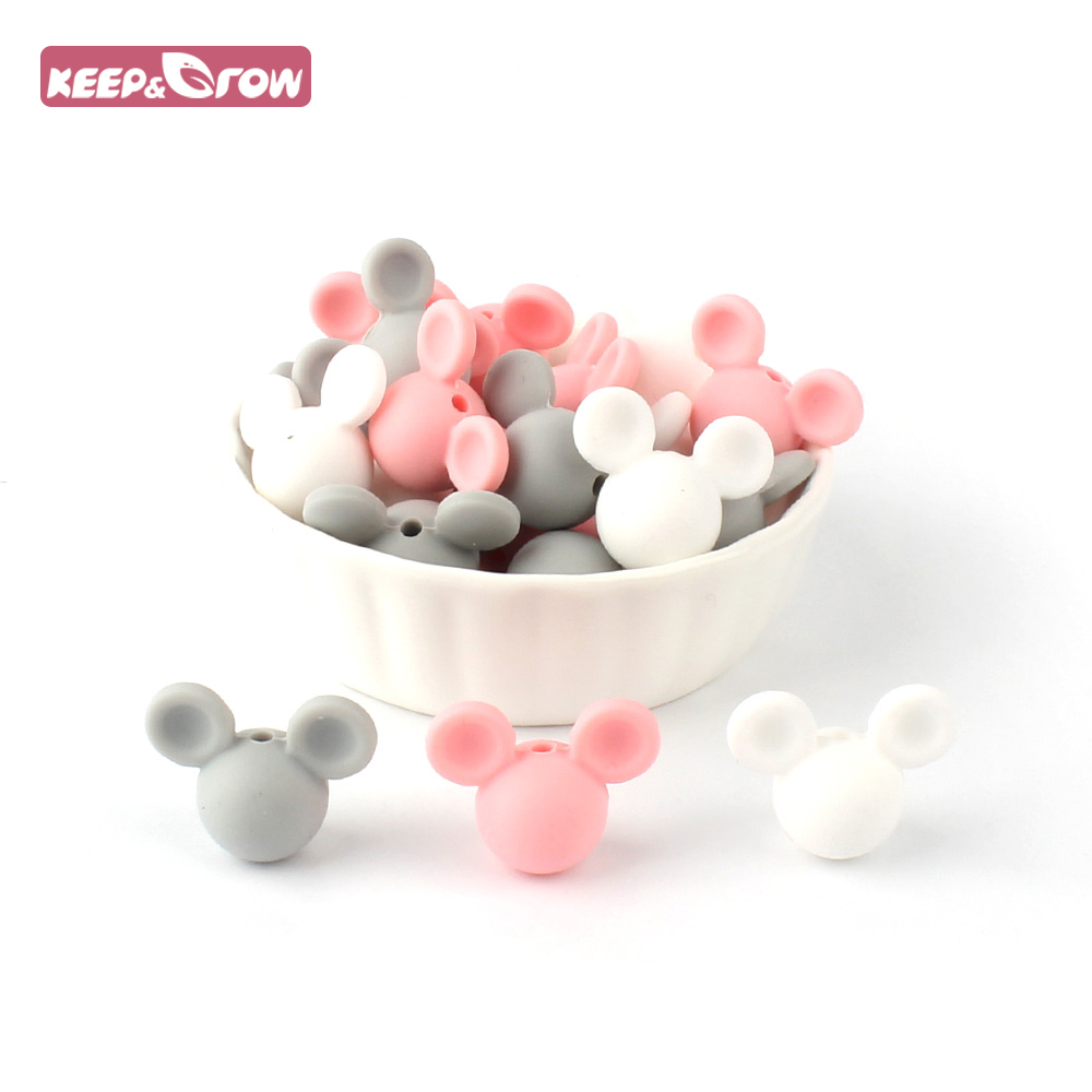 Keep&Grow 10pcs/lot Mickey Silicone Beads Baby Teether Toy Soft Chew Teething BPA Free DIY Charm Necklace Food Grade Jewelry