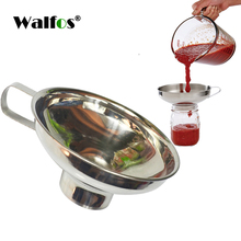 WALFOS 1pc Wide Mouth Funnel Stainless Steel Canning Hopper Filter Food Pickles Jam Enema Powder