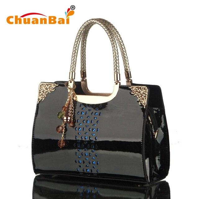 Women S Bags Pierced Black Patent Leather Famous Fashion Large Zipper Bag Handbags Womens Shoulder